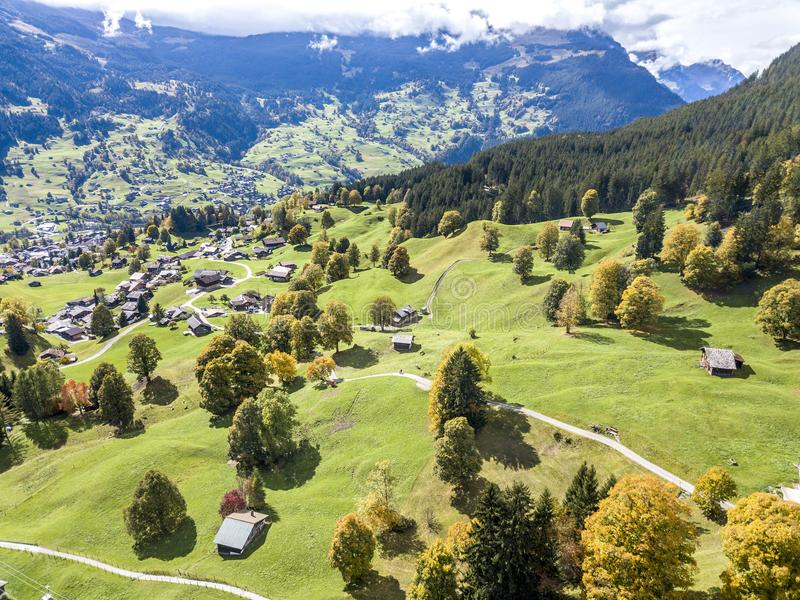Amazing dream like Swiss alpine mountain landscape. Wooden chalets on green fields and high mountains with snowy peaks background, in Grindelwald of royalty free stock images