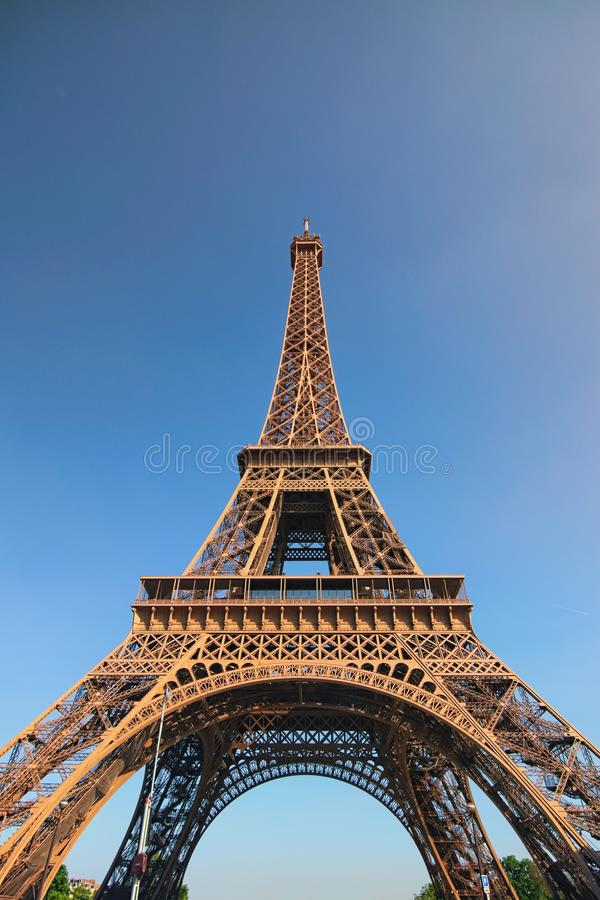 The amazing Eiffel Tower in Paris. Tower is one of the most recognizable landmarks in the world. Famous touristic pl royalty free stock photos