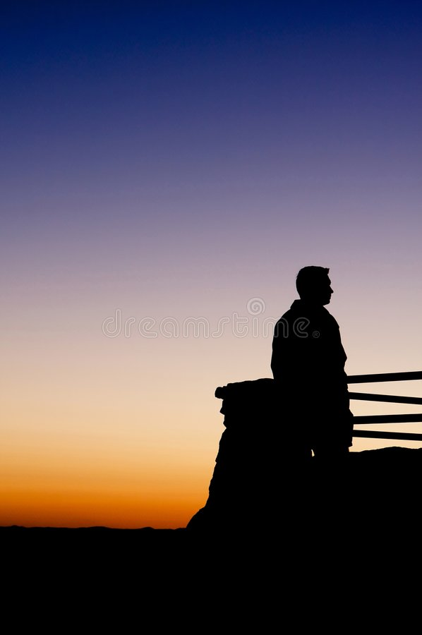 amazing enjoying man sunset view στοκ φωτογραφία