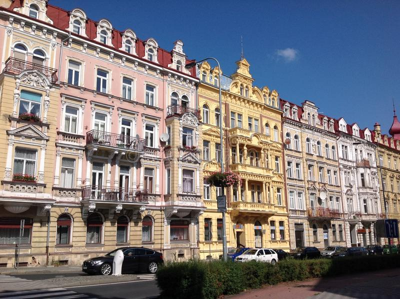Amazing european residential buildings with attics. Amazing european residential buildings with royalty free stock photo