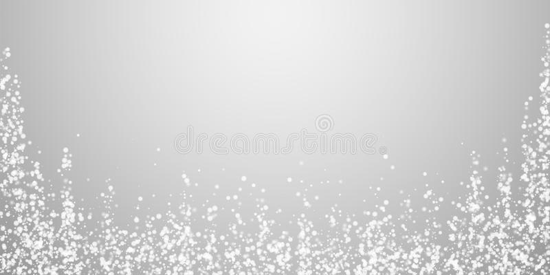 Amazing falling snow Christmas background. Subtle. Flying snow flakes and stars on light grey background. Actual winter silver snowflake overlay template. Posh stock illustration