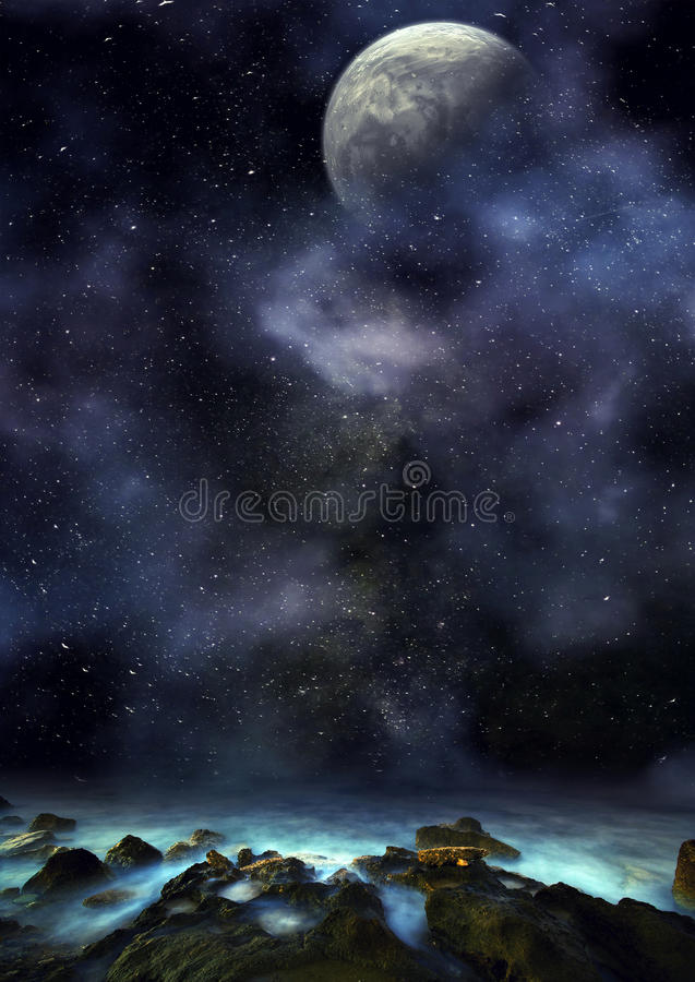 Amazing Fantasy planetscape. Fantasy planetscape by the sea stock photo