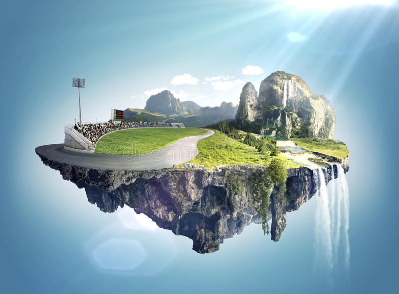 Amazing fantasy scenery with floating islands and water fall royalty free stock photos