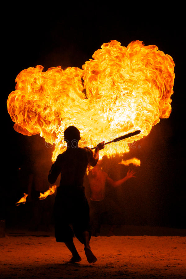 Amazing Fire Show at night royalty free stock photo