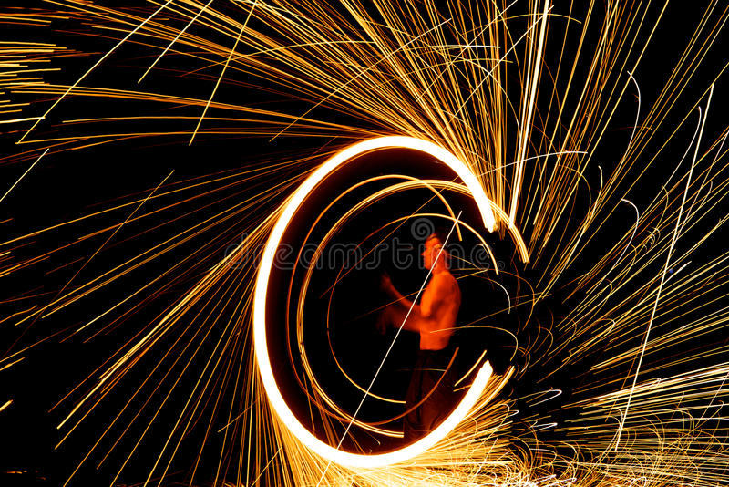 Amazing fire show at night stock images