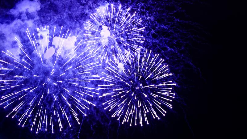 Amazing fireworks flowers on the night sky. Brightly blue fireworks on dark black color background. Holiday relax time with stock photography