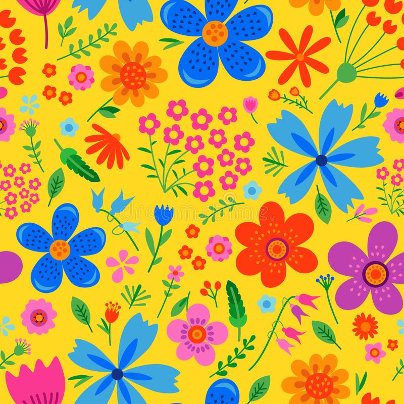 Amazing floral vector seamless pattern stock illustration