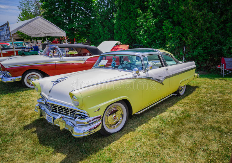 Amazing front side view of classic vintage retro styled car royalty free stock image