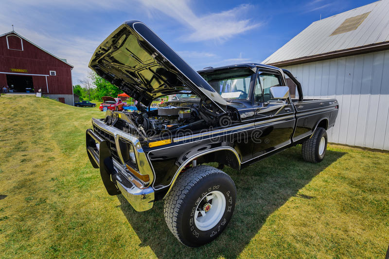 Amazing front side view of classic vintage retro SUV pickup truck royalty free stock image