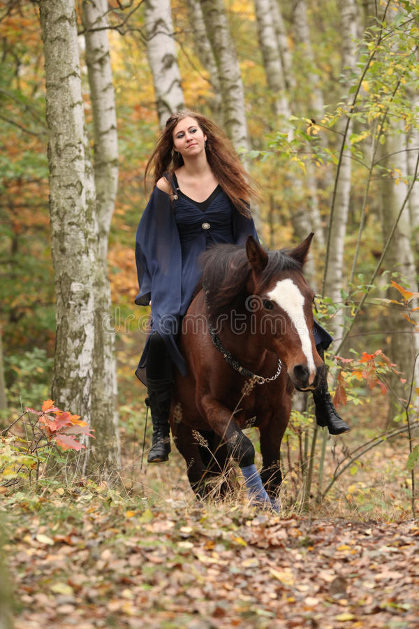 Amazing girl riding a horse without any equipment in autumn fore. Amazing girl riding brown horse without any equipment in autumn forest stock photography