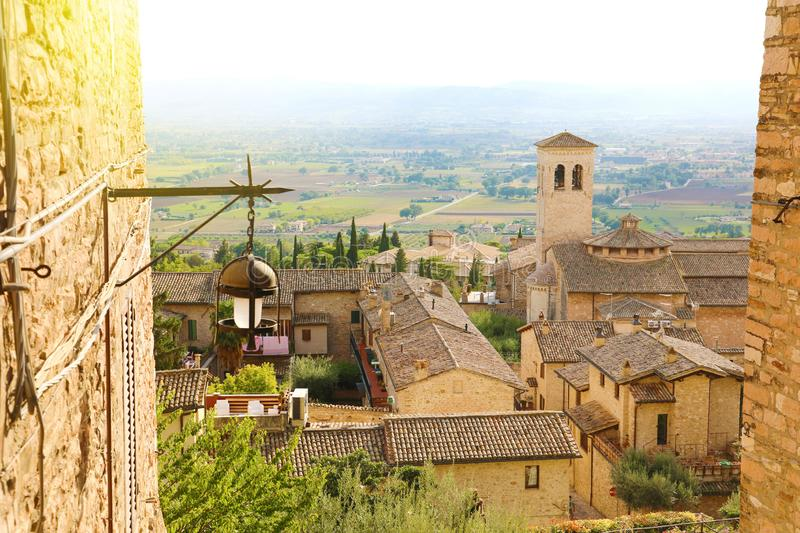 Amazing glimpse view from medieval old Italian city of Assisi, Umbria, Italy.  royalty free stock image