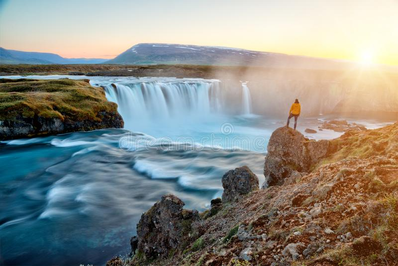 Amazing Godafoss waterfall in Iceland during sunset royalty free stock images