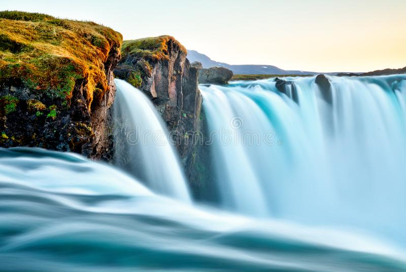 Amazing Godafoss waterfall in Iceland during sunset royalty free stock photo