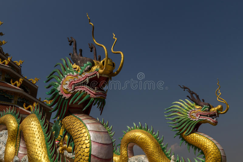 Amazing golden dragons at chinese temple. Amazing and picturesque golden dragons at chinese temple with blue sky background stock photos