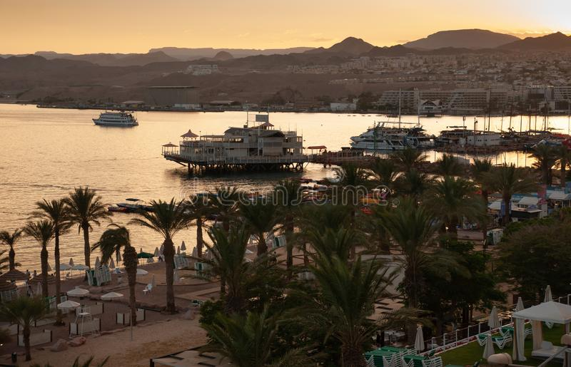 Amazing golden sunset at Eilat Red Sea bay. Israel royalty free stock image