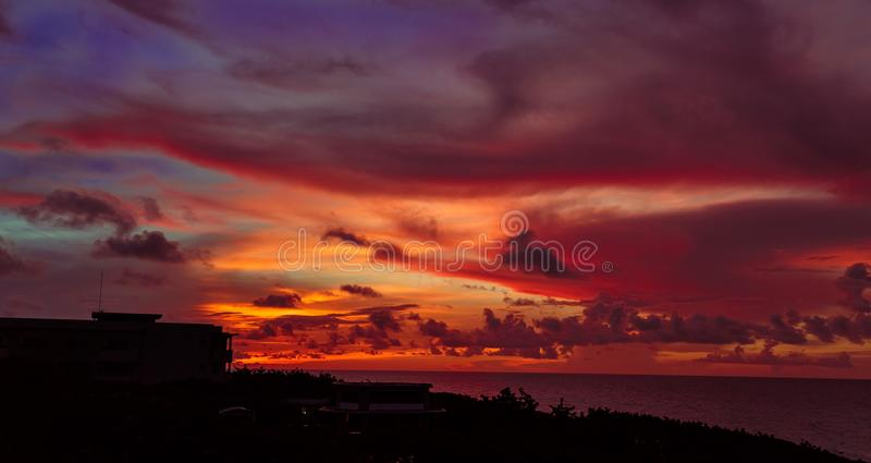 Charming gorgeous magic view of sunset time with beautiful warm sky at Santa Maria Cuban island royalty free stock photography