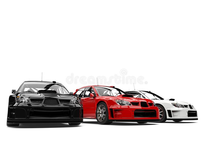 Amazing GT race cars in red, white and black vector illustration