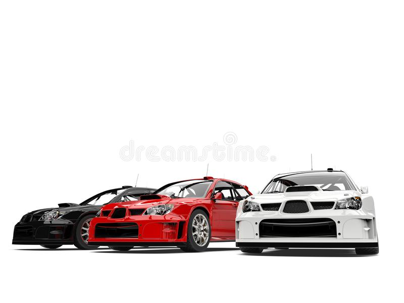 Amazing GT race cars in red, white and black - low angle shot stock illustration