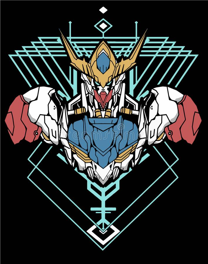 Free Amazing Gundam Cartoon Green Robot Warrior Sacred Geometry For T-shirt Design Royalty Free Stock Images - 163955559