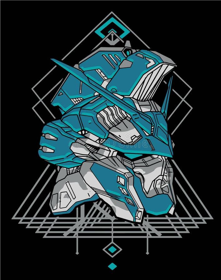 Free Amazing Gundam Head Cartoon Green Robot Warrior Sacred Geometry For T-shirt Design Royalty Free Stock Photos - 163957318