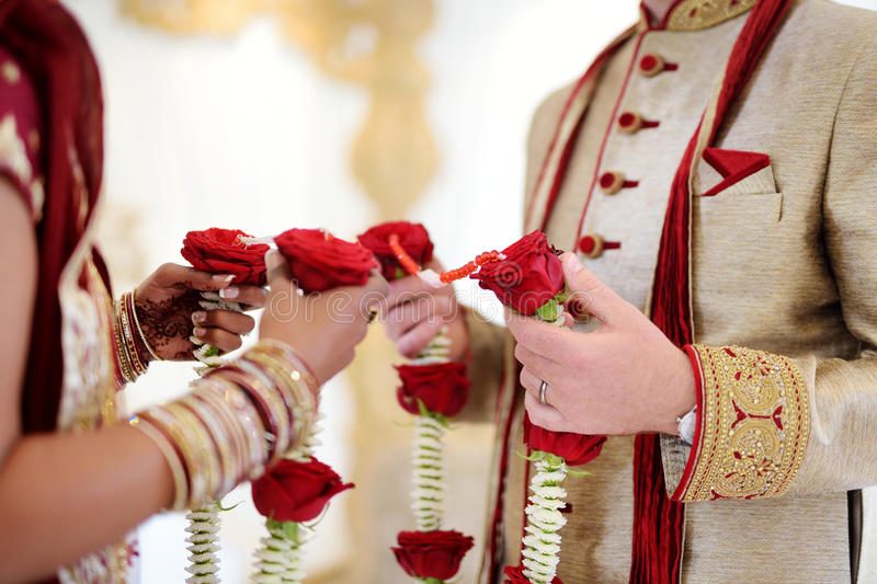 Amazing hindu wedding ceremony. Details of traditional indian wedding. Beautifully decorated hindu wedding accessories. Indian marriage traditions stock image