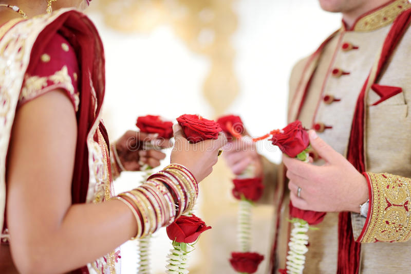 Amazing hindu wedding ceremony. Details of traditional indian wedding. stock photo