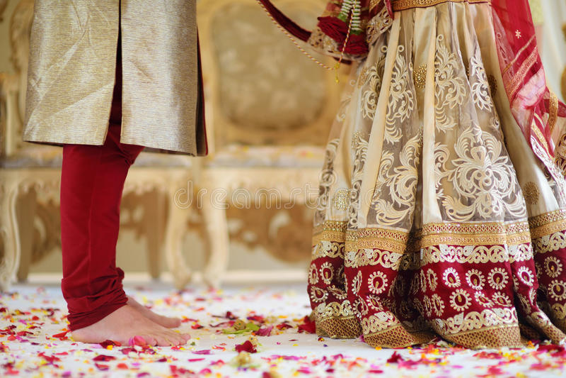 Amazing hindu wedding ceremony. Details of traditional indian wedding. Beautifully decorated hindu wedding accessories. Indian marriage traditions stock photography