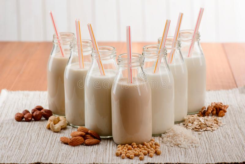 Amazing homemade vegan milk. Bottles of organic drinks made of different plant ingredients. Creamy, nutritious and good for health stock image
