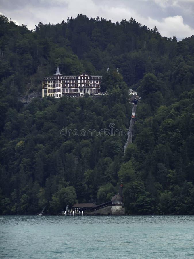 Amazing Hotel Giessbach on Lake Brienz near interlaken stock photo