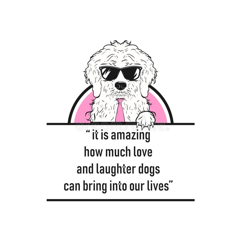 It is amazing how much love and laughter dogs can bring into our lives royalty free illustration