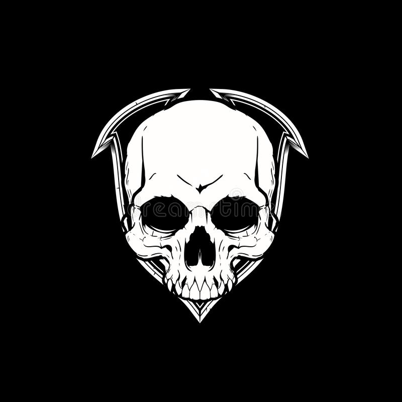 Simple skull vector crest logo template. Amazing illustration and awesome design old school theme or retro style black and white color vintage simple skull head vector illustration