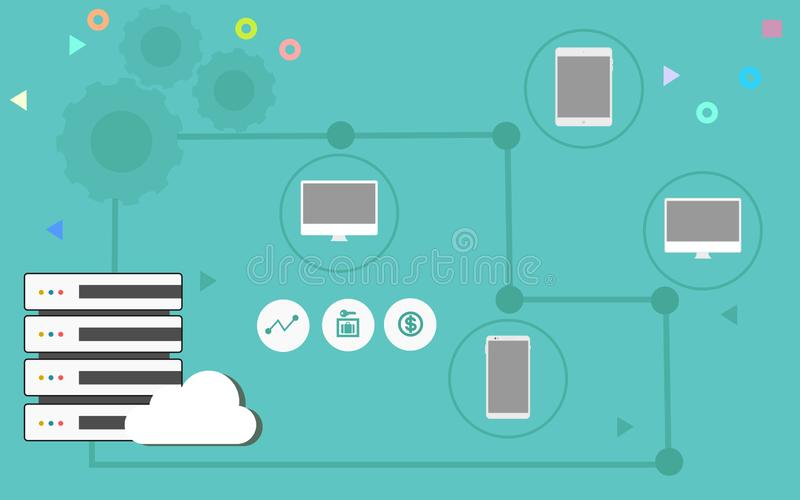 Cloud Computing Illustration with Devices and Server stock illustration