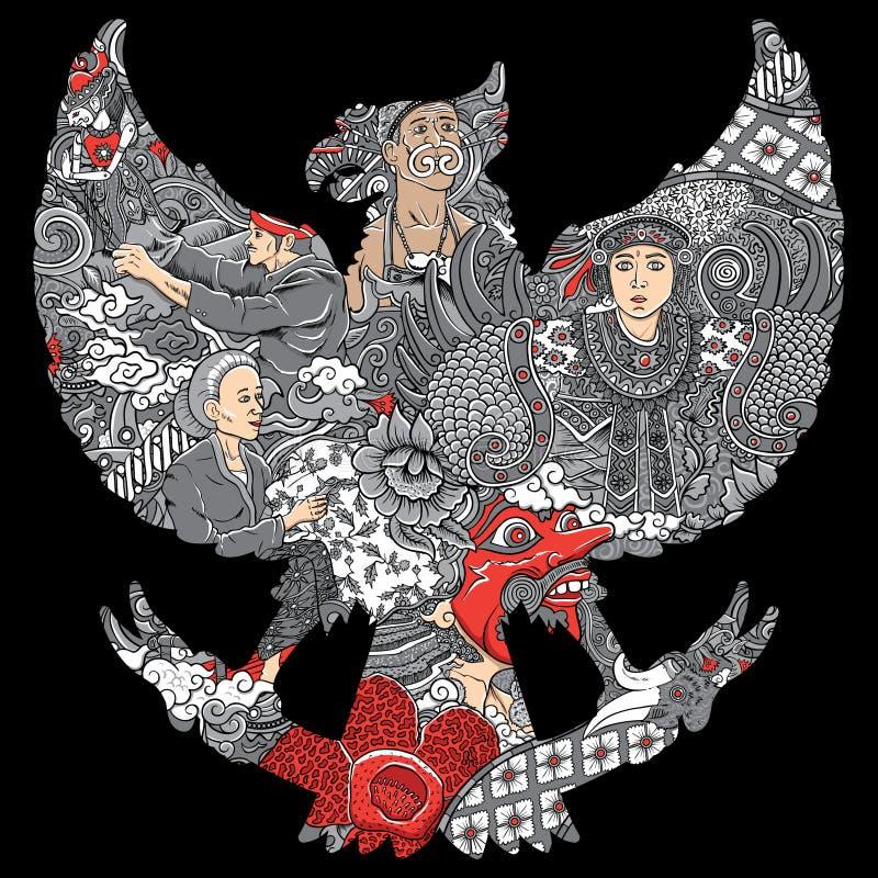 Amazing indonesia culture in garuda silhouete stock illustration