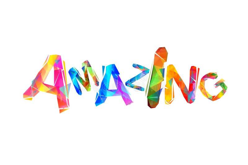 amazing Inschrijving van kleurrijke driehoekige brieven stock illustratie