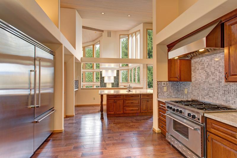 Amazing kitchen with high-end stainless steel appliances. High vaulted ceiling and oak wood floors provide extra warmth in this delightful kitchen stock photography