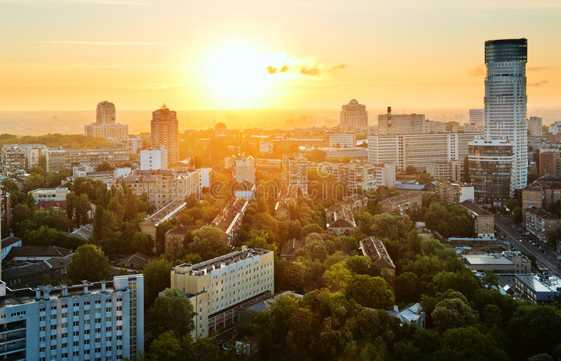 Amazing Kyiv. Kyiv city, Ukraine, in the morning, aerial panoramic view stock image