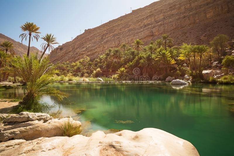 Amazing Lake and oasis with palm trees Wadi Bani Khalid in the desert stock images