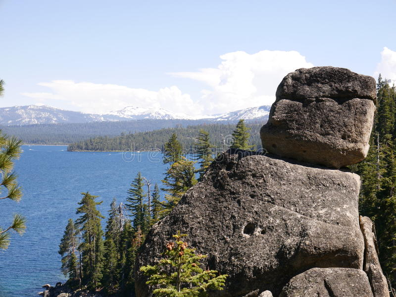 Amazing Lake Tahoe with mountains and rocks royalty free stock image