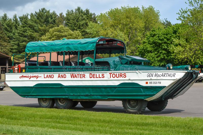 Dells Duck Land and Water Tours - Wisconsin Dells. The Amazing Land and Water Dells Duck Boat tours located in the popular tourist town of the Wisconsin Dells stock images