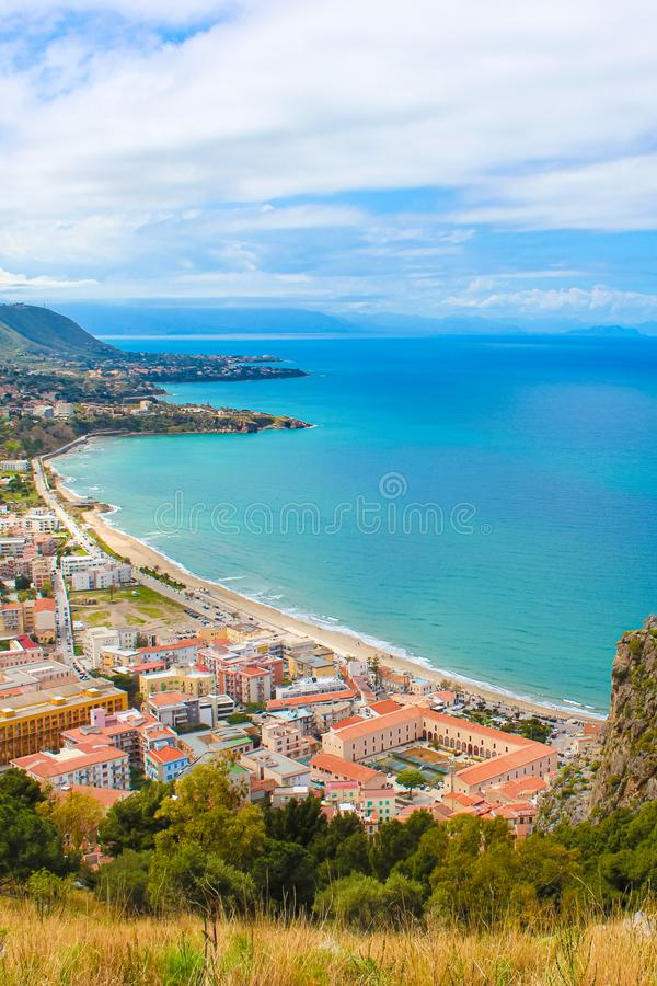 Amazing landscape around coastal village Cefalu in Italian Sicily taken from above from adjacent rock overlooking the bay. stock photos