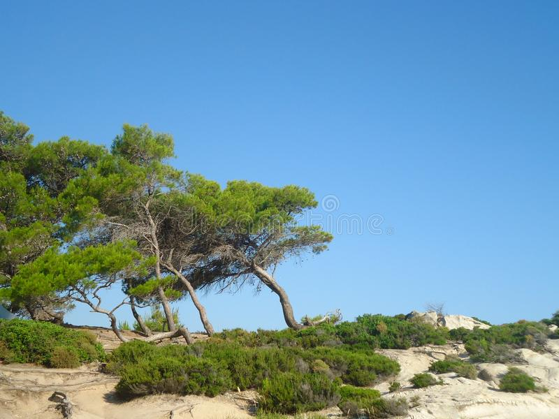 Amazing landscape with blue sky in Greece royalty free stock photos