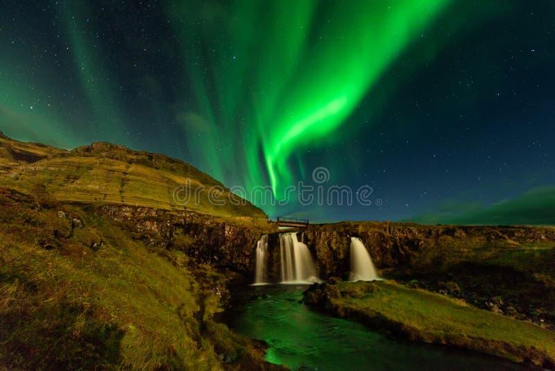 Amazing landscape with green bands of Aurora Borealis. Snaefellnes, Iceland royalty free stock photo