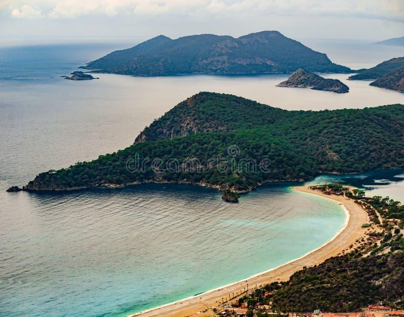Amazing landscape of Oludeniz Beach and bay, Mugla, Turkey. Aerial Photo from Lycian way. Summer and holiday concept. Fethiye stock image