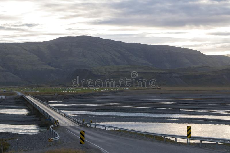 Amazing landscape on the road in the East Fjords in Iceland royalty free stock image