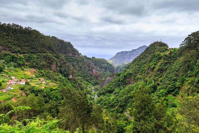 Amazing landscape with a small village Arco de Sao Jorge on the north side of Madeira from Cabanas viewpoint, Portugal stock photography