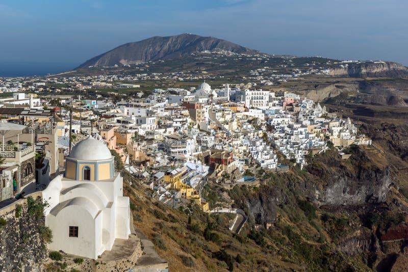 Amazing Landscape to town of Fira and Prophet Elias peak, Santorini island, Thira, Greece stock photos