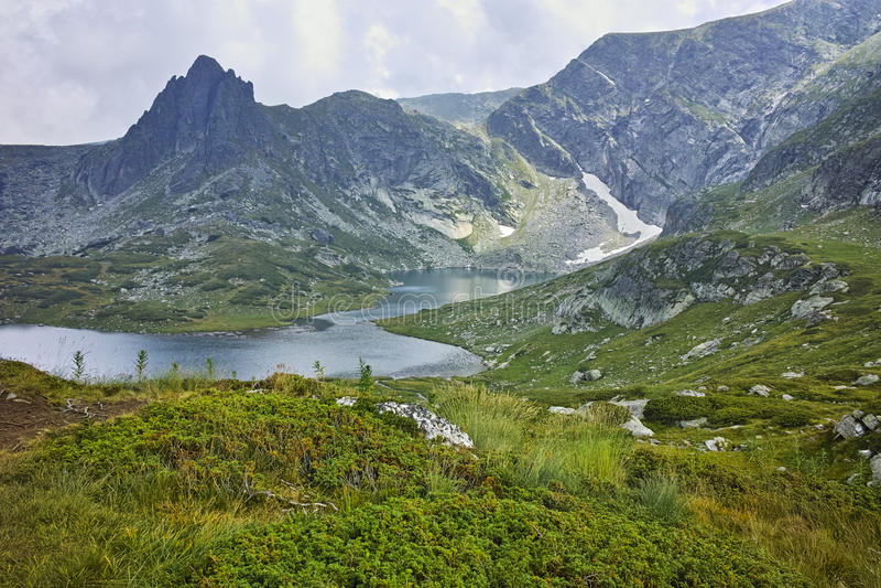 Amazing Landscape of The Twin lake, The Seven Rila Lakes. Bulgaria royalty free stock photo