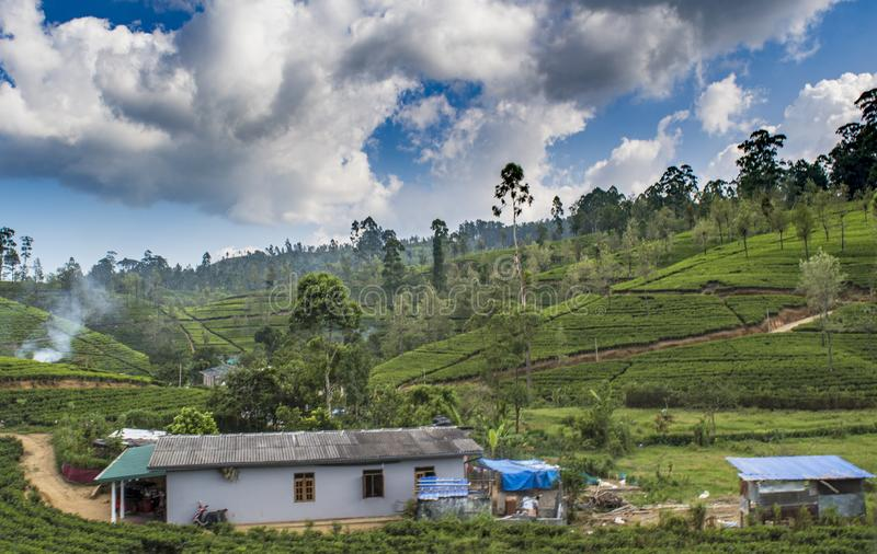 Amazing landscape view of the houses in small village in the mountains royalty free stock photography