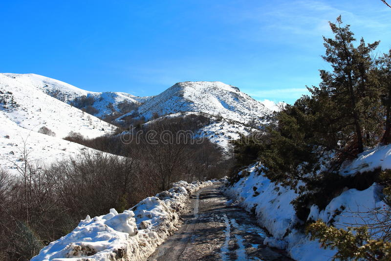 Amazing landscape on the way to Matagalls peak summit on a winter sunny day, Montseny mountains, Barcelona.  stock image