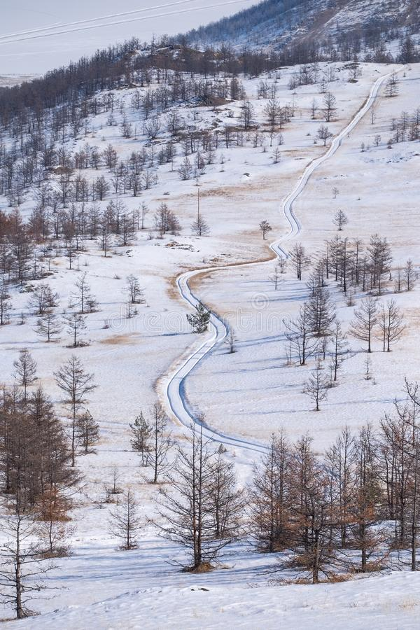 Amazing long road landscape in snowy pinewood. The road leads up to the hills. royalty free stock photography
